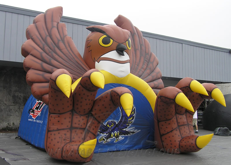 Inflatable Owl Mascot Tunnel