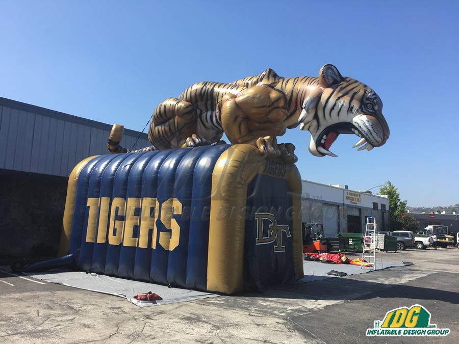high school entryway tiger Mascot Tunnel