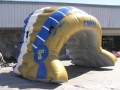 Inflatable Blue and Gold Headdress Side View