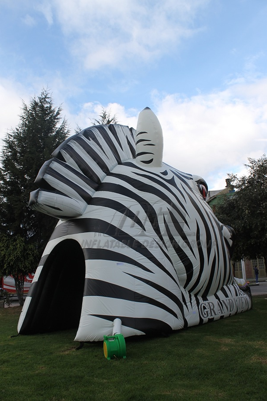 Inflatable Zebra Head Mascot Rear View